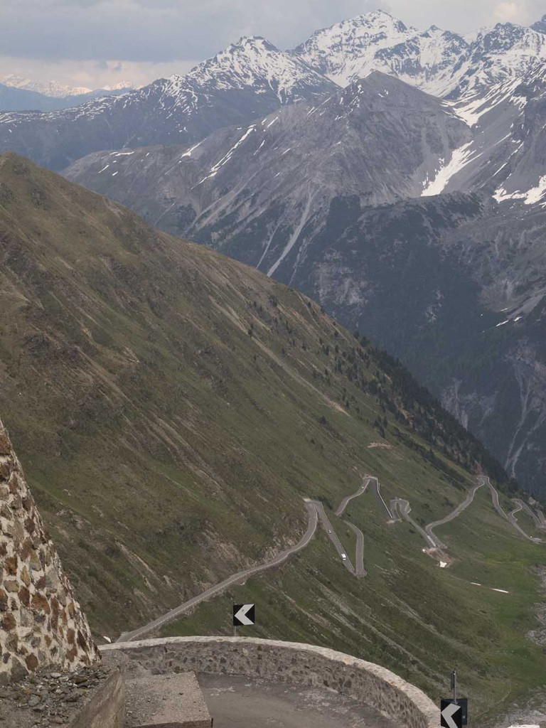 Looking Down From the Stelvio Pass, Italy