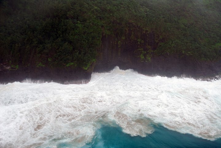 Foaming Surf Along the Na Pali Cliffs, Kaua'i