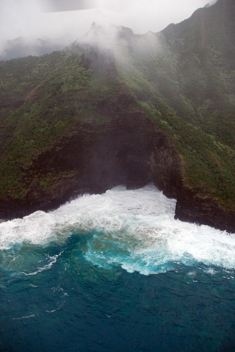 Foaming Surf and Cave, Na Pali Coast, Kaua'i