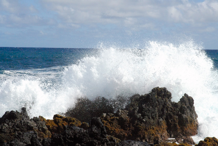 Surf Pounding Lava Rocks, Keanae Peninsula, Maui