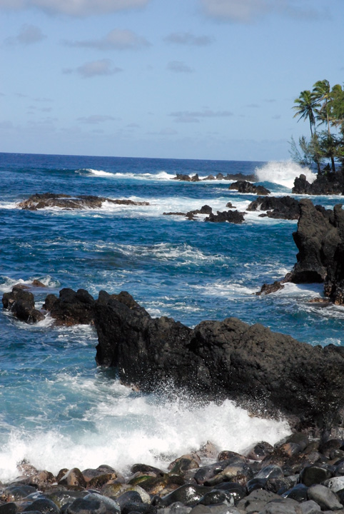 Surf on Lava Rocks, Keanae Peninsula, Maui